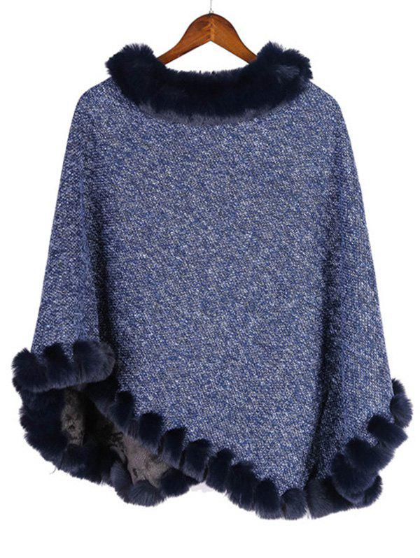 Shops Faux Fur Heathered Pullover Cape Shawl
