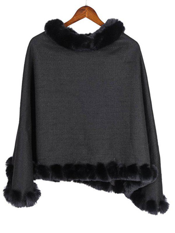 Fancy Faux Fur Heathered Pullover Cape Shawl