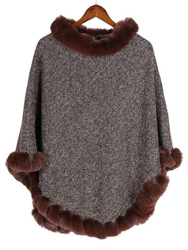 Online Faux Fur Heathered Pullover Cape Shawl