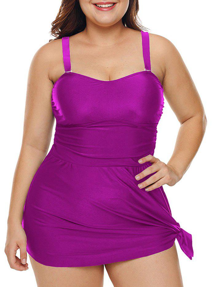Fancy Plus Size Ruched Solid Padded Tankini Set