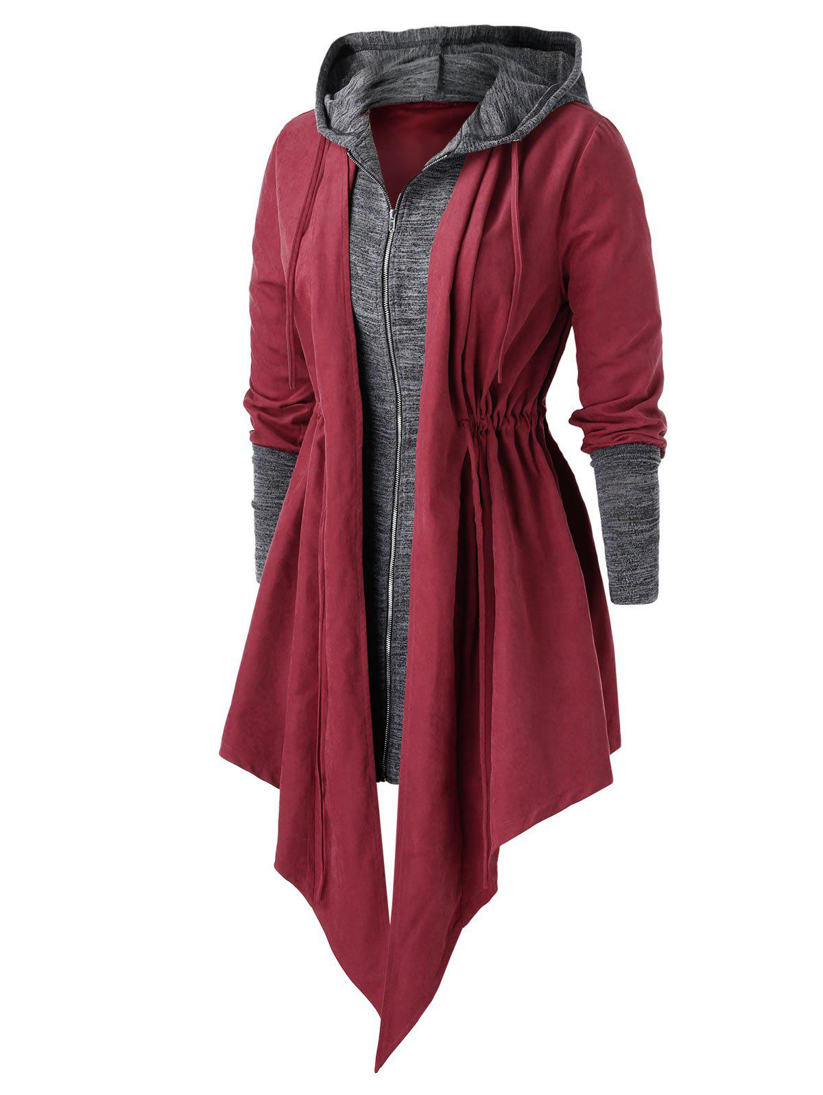 Chic Plus Size Asymmetric Drawstring Double Layered Coat