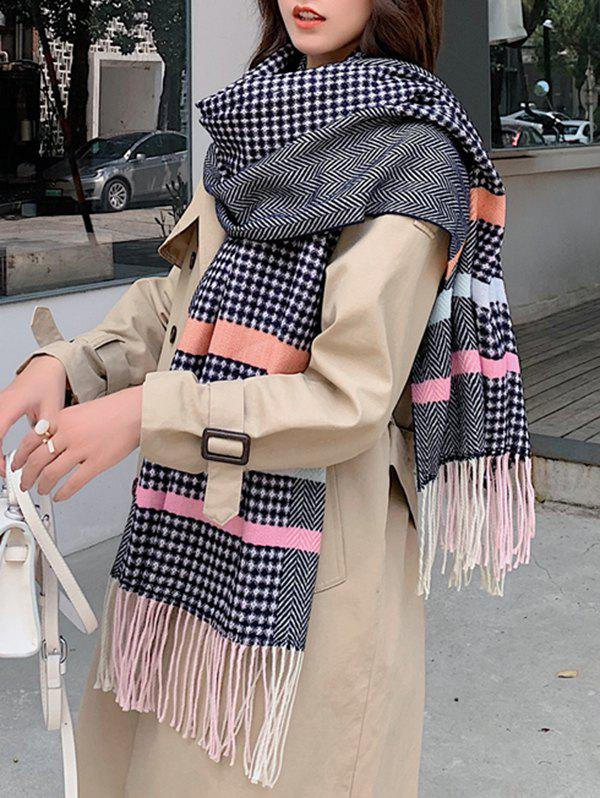 Chic Striped Herringbone Faux Cashmere Fringe Scarf