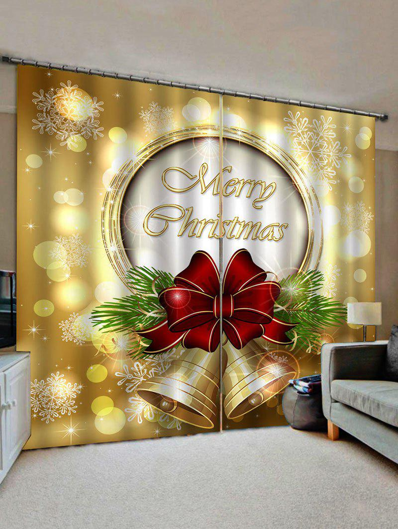 Hot 2 Panels Christmas Bowknot Bell Print Window Curtains