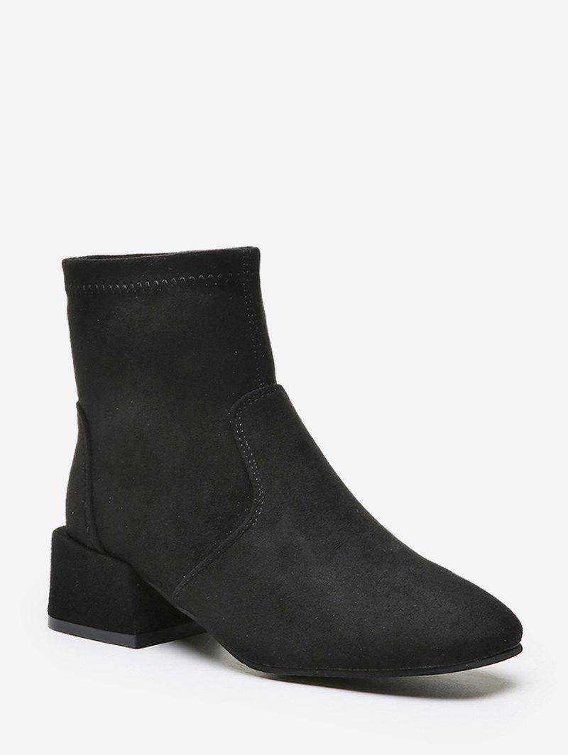 Fancy Solid Square Toe Block Heel Ankle Boots