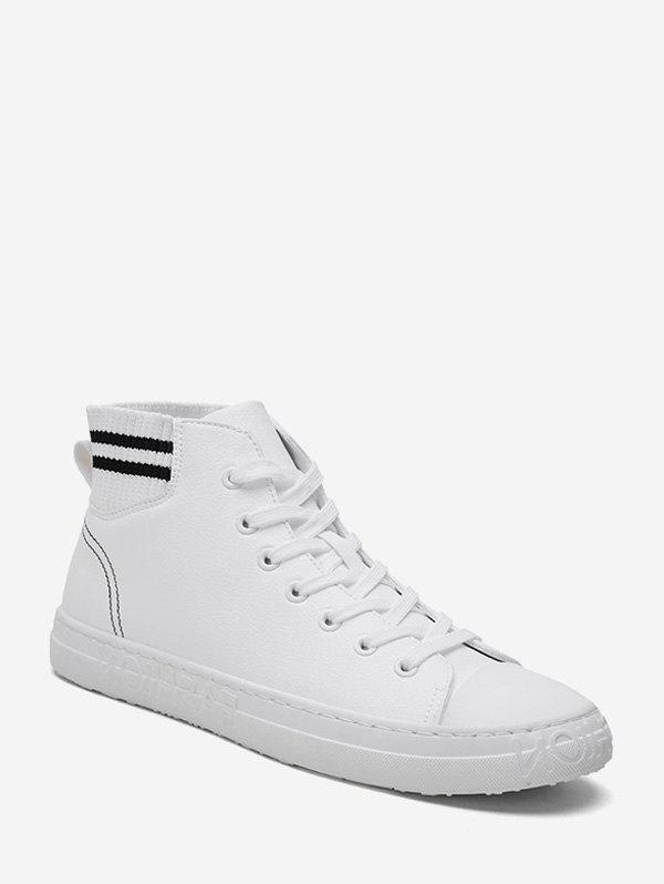 Buy Striped Trim High Top PU Leather Shoes