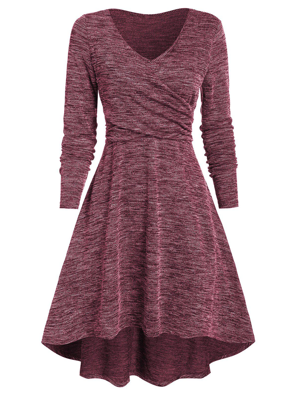 Latest Heathered V Neck High Low Dress