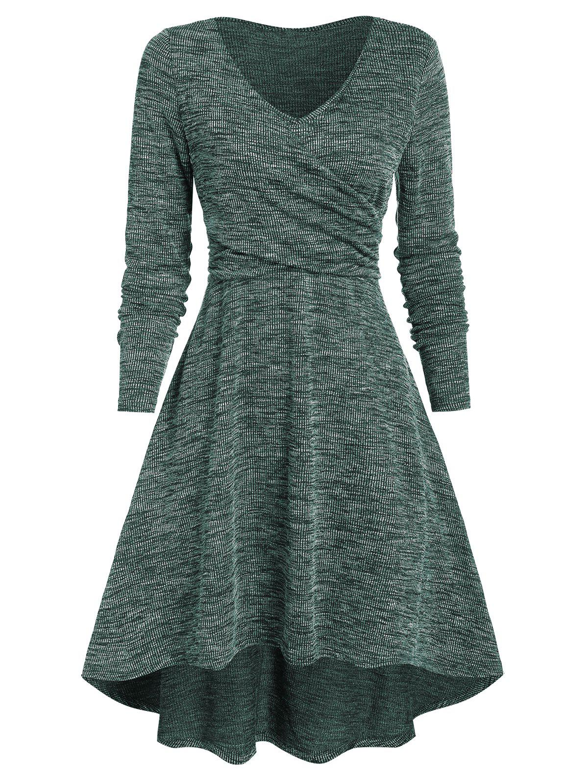 Latest Heathered V Neck Crossover High Low Dress
