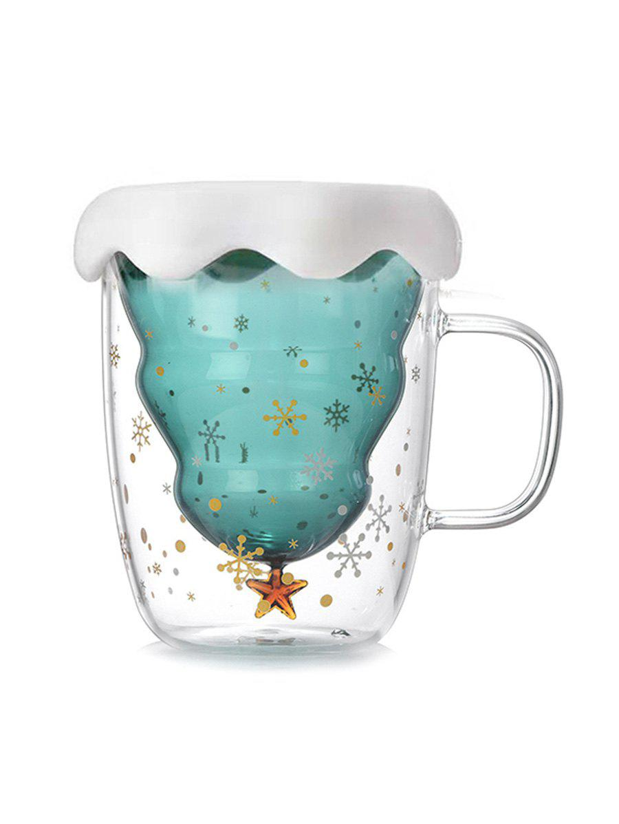 Outfits Snowflake Pattern Christmas Tree Shape Double-layer Glass Water Cup