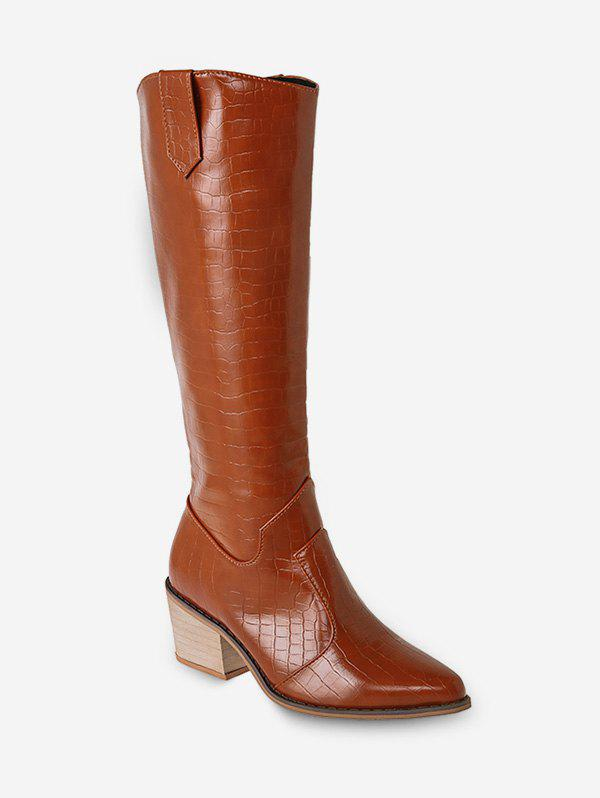 New Animal Embossed Pointed Toe Knee High Boots