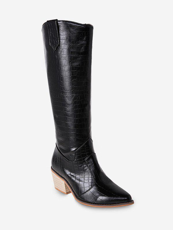 Shop Animal Embossed Pointed Toe Knee High Boots