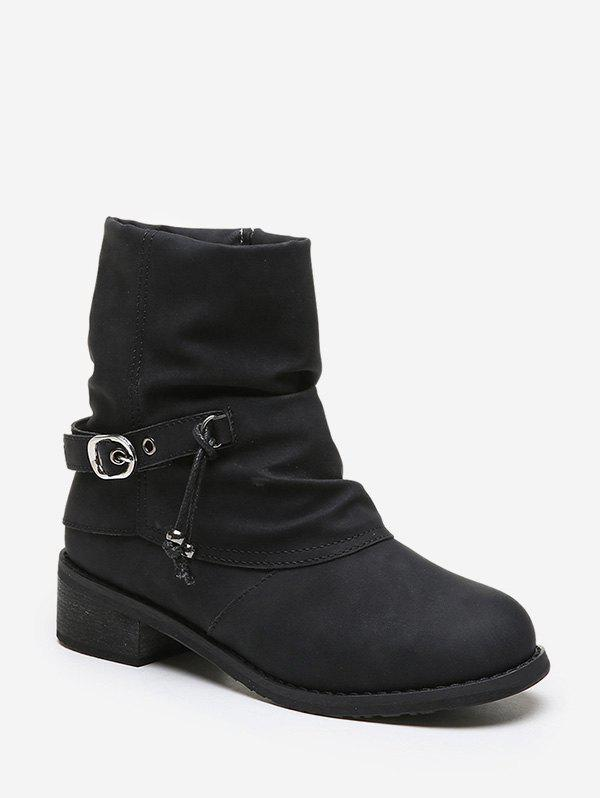 Latest Buckle Strap Foldover Ruched Short Boots