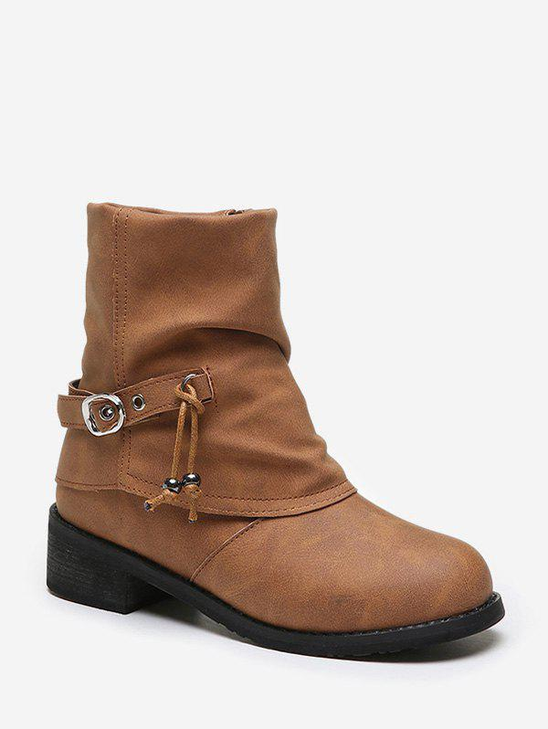 Chic Buckle Strap Foldover Ruched Short Boots