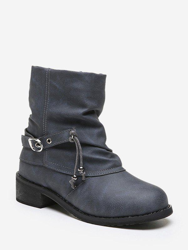Affordable Buckle Strap Foldover Ruched Short Boots