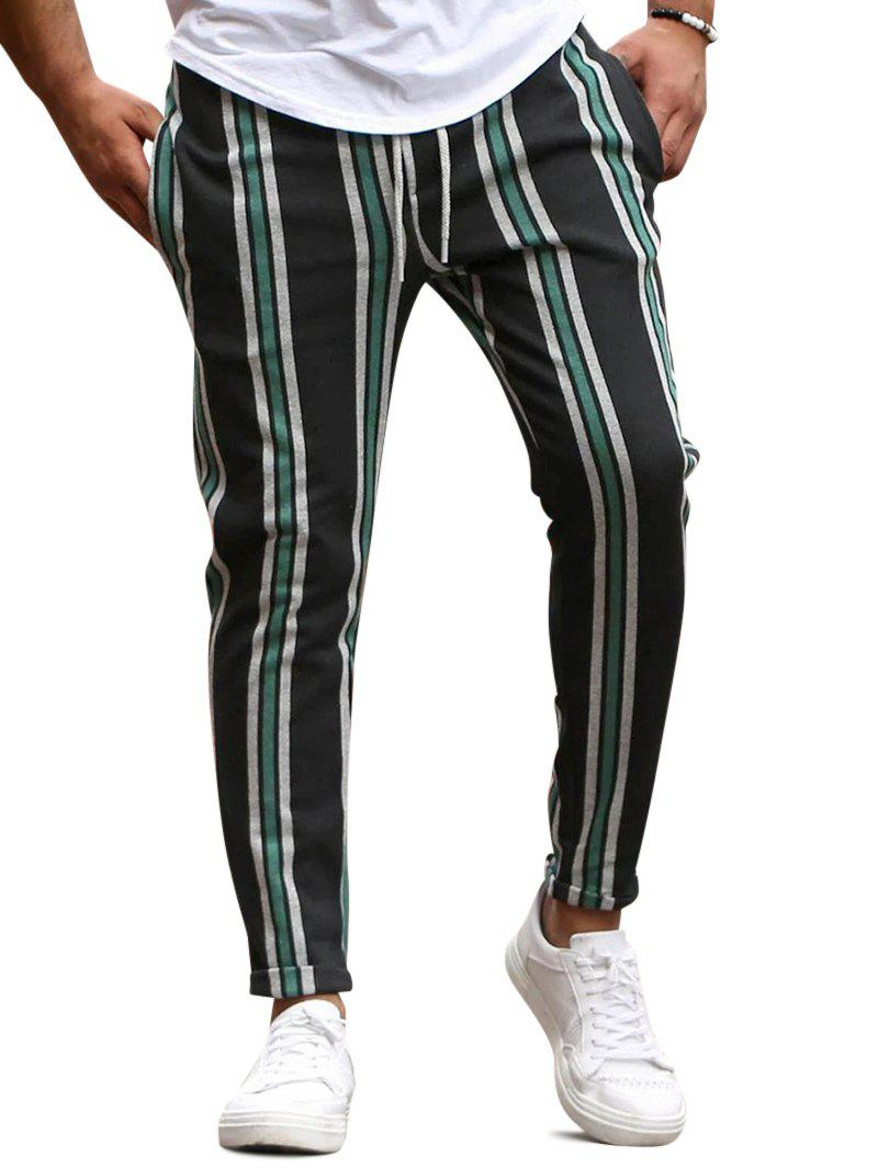 Outfits Vertical Striped Drawstring Pencil Pants