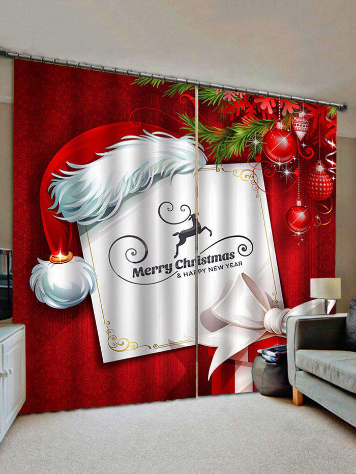Affordable 2 Panels Christmas Card and Gift Print Window Curtains