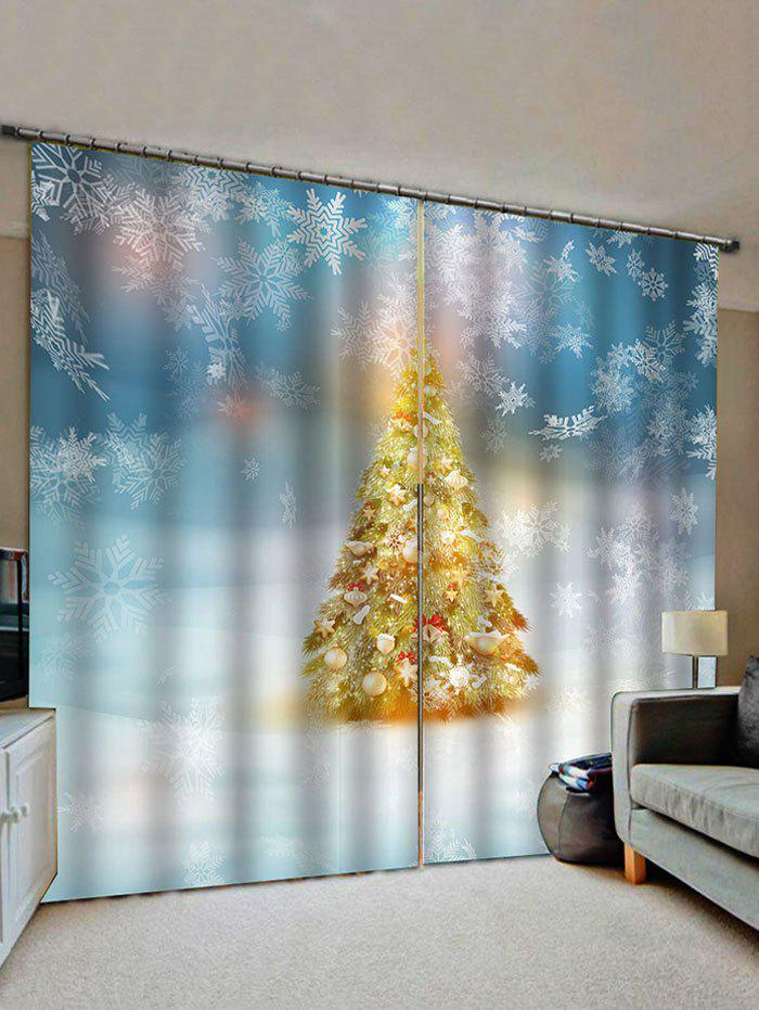 Trendy 2 Panels Christmas Tree and Snowflakes Print Window Curtains