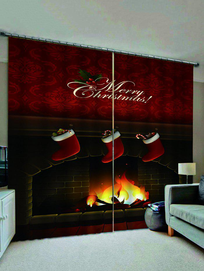 Chic 2 Panels Christmas Stockings Fireplace Print Window Curtains