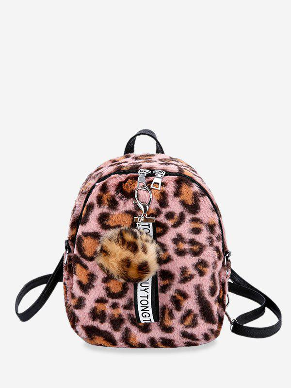 Outfits Leopard Pattern Fuzzy Ball Backpack