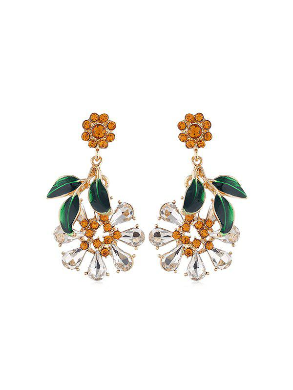 Outfits Flower Leaf Faux Crystal Drop Earrings