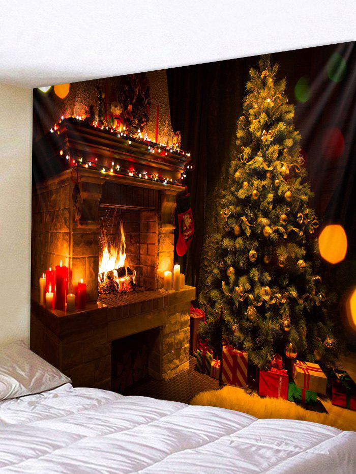 Cheap Christmas Tree Fireplace Printed Tapestry Wall Hanging Art Decoration
