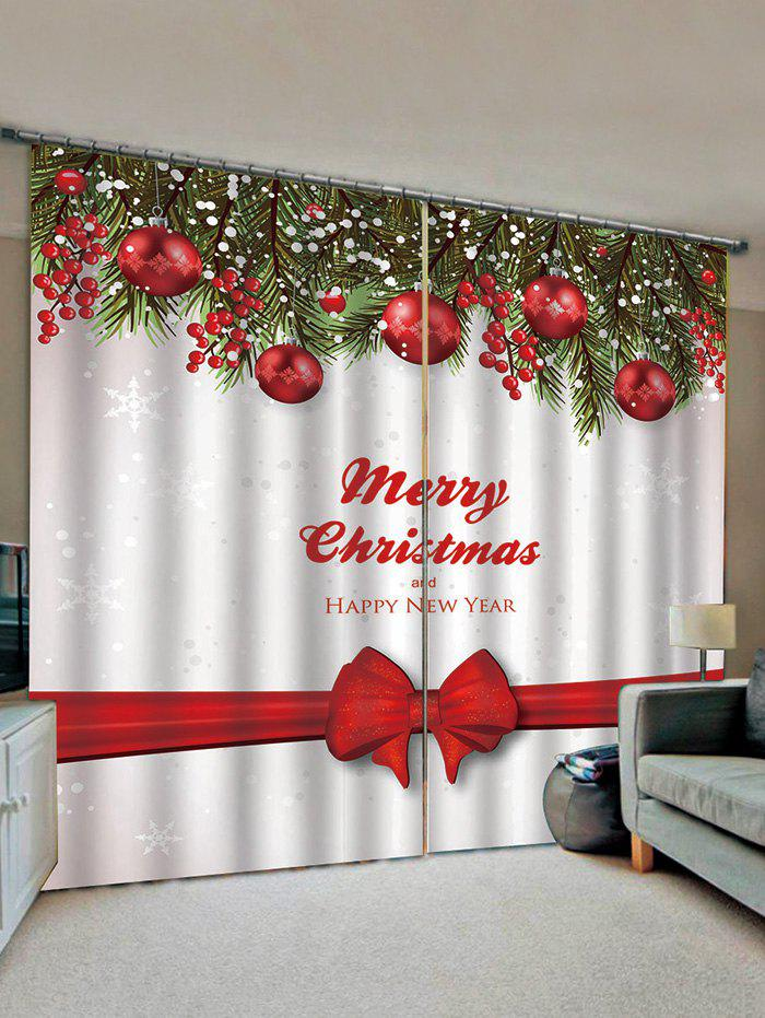 Best 2 Panels Christmas Tree Balls Bowknot Print Window Curtains