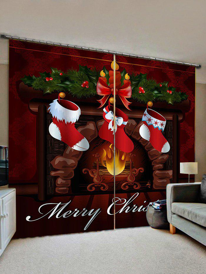 Buy Christmas Stockings Fireplace Print 2 Panels Window Curtains
