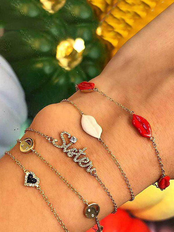 Chic 5Pcs Rhinestone Lips Heart Letter Bracelet Set