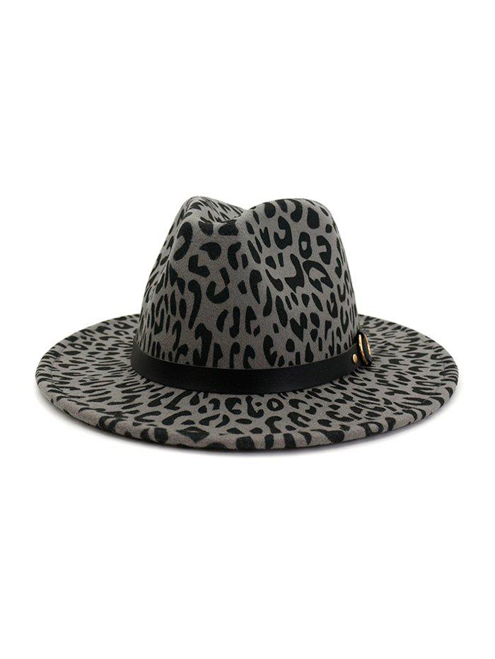 Latest Woolen Leopard Buckle Fedoras