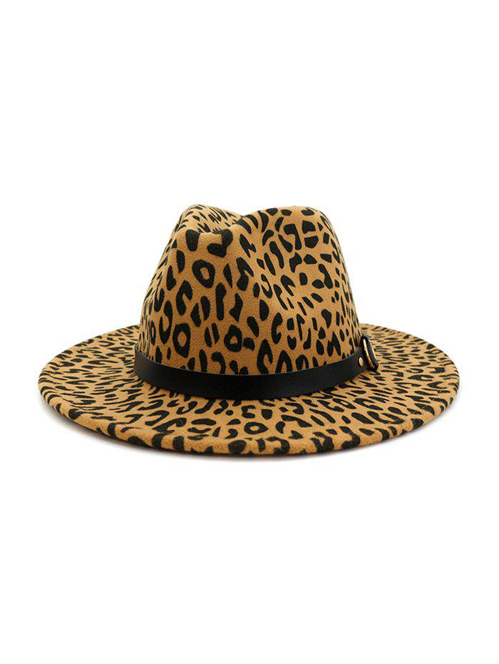 Affordable Woolen Leopard Buckle Fedoras