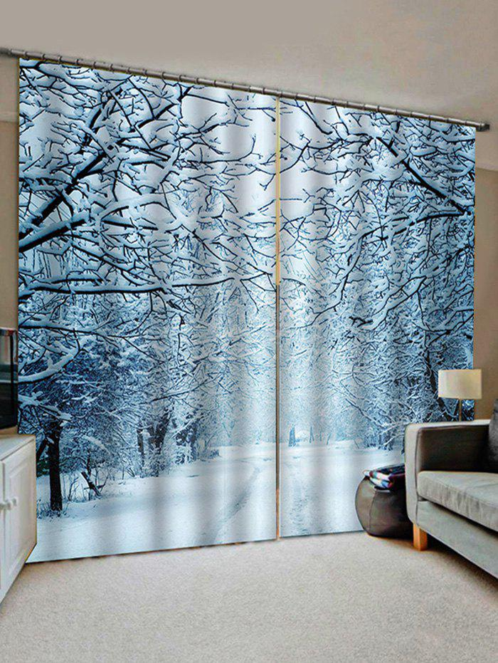 Latest 2 Panels Snowy Forest Road Print Window Curtains