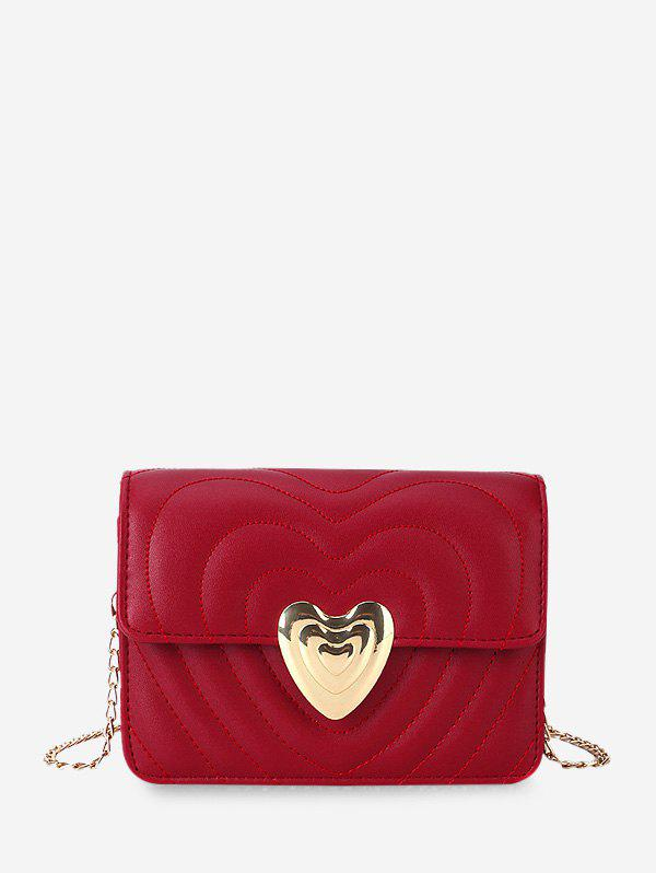 Outfit Heart Buckle Quilted Chain Crossbody Bag
