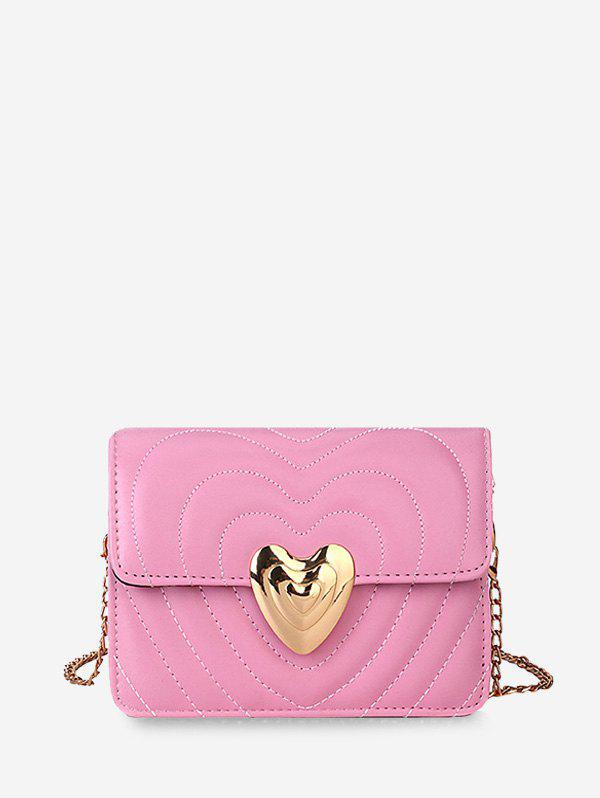 Trendy Heart Buckle Quilted Chain Crossbody Bag