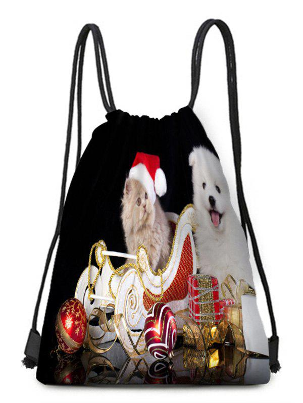 Outfit Christmas Hat Animals Theme Drawstring Backpack Candy Bag