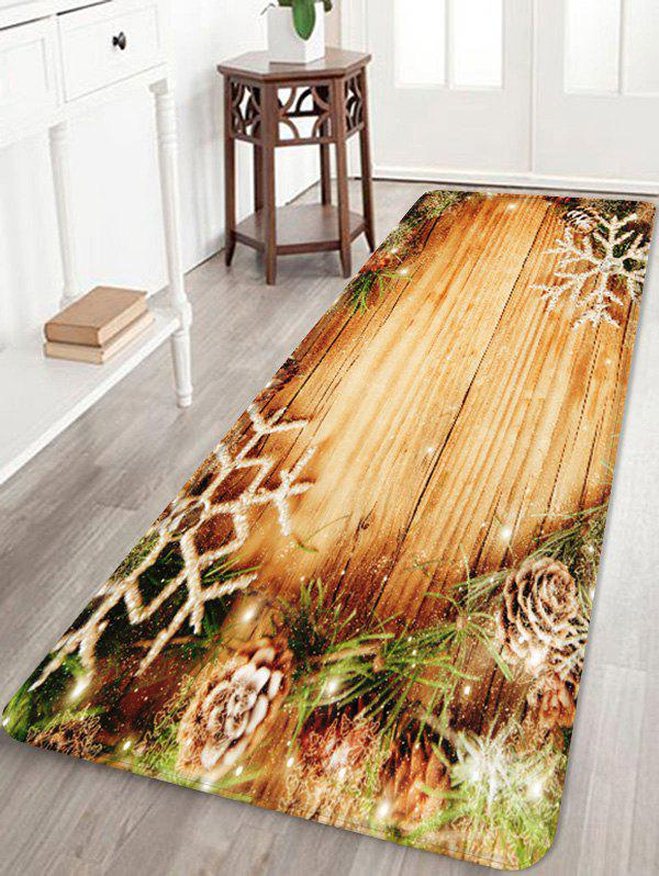 Affordable Christmas Snowflake Wood Grain Pattern Water Absorption Area Rug