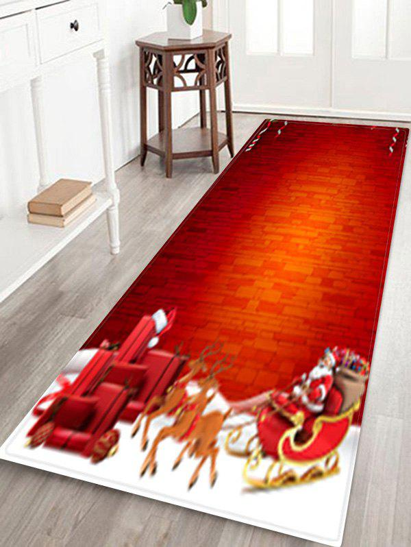 Outfits Christmas Sleigh Brick Wall Pattern Water Absorption Area Rug