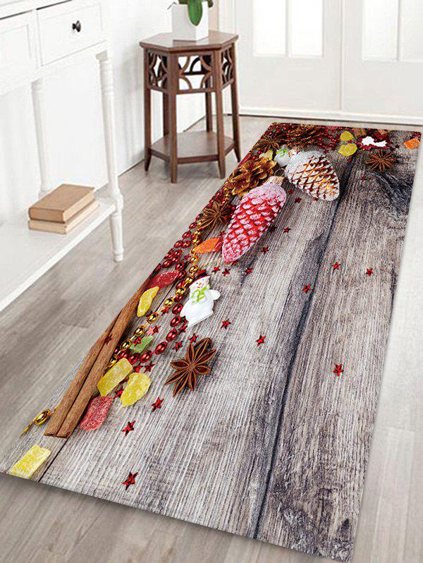 New Christmas Decoration Wood Grain Pattern Water Absorption Area Rug