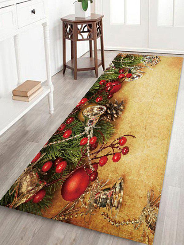 Cheap Christmas Bells Branch Pattern Water Absorption Area Rug