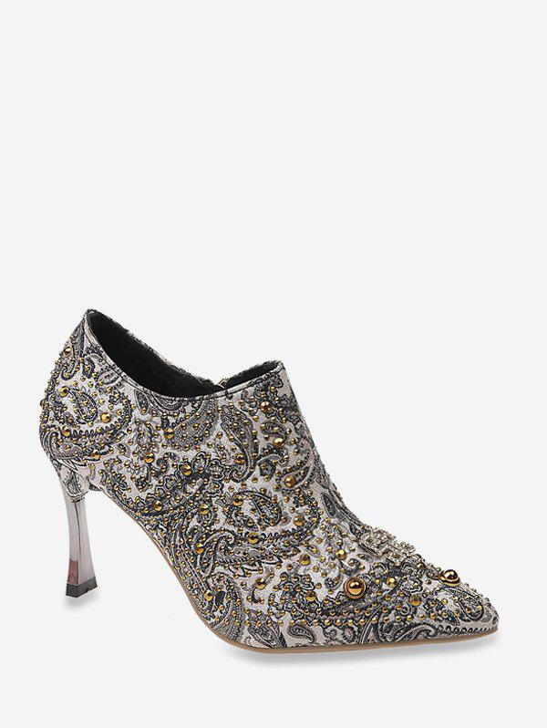 Discount Shiny Paisley Pattern Stiletto Heel Pumps