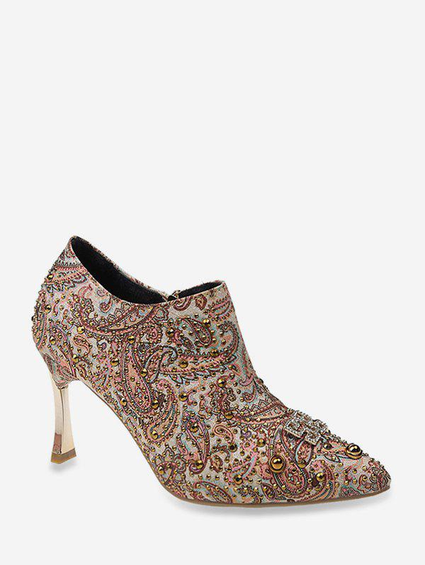 Shop Shiny Paisley Pattern Stiletto Heel Pumps