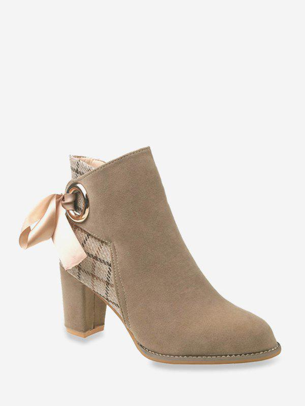 Chic Plaid Panel Tie Back High Heel Boots