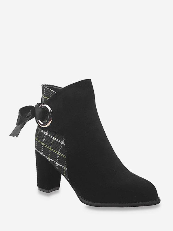 Shops Plaid Panel Tie Back High Heel Boots