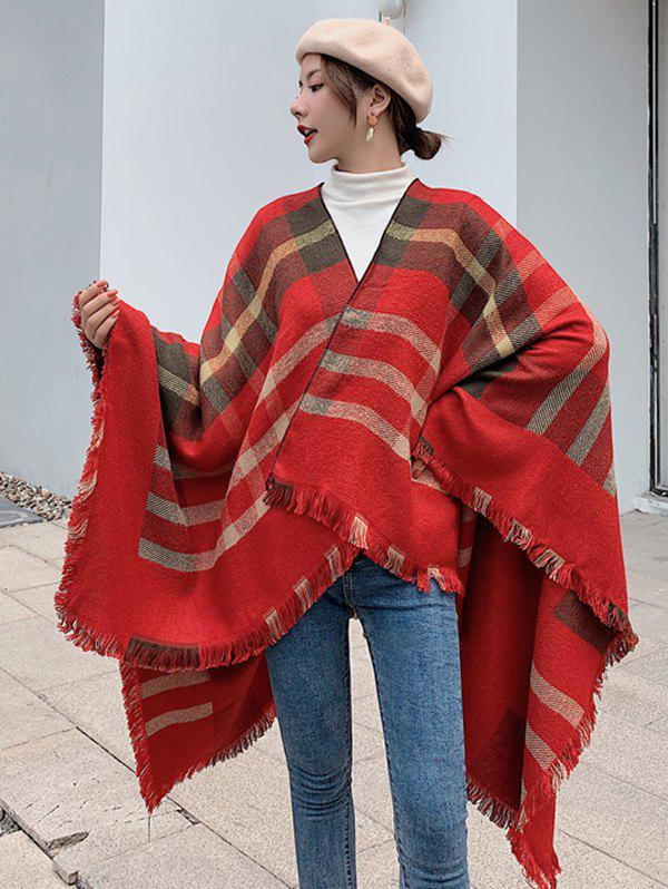Outfit Checkered Fringed Travel Cape Shawl