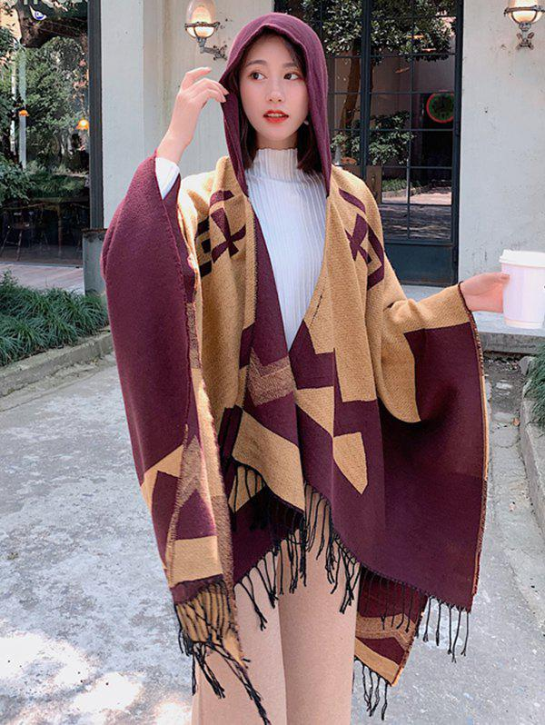 Best Colorblock Spliced Chevron Print Fringed Hooded Cape Shawl