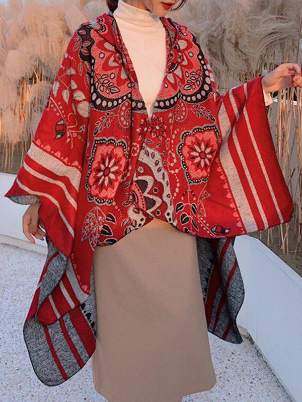 Sale Floral Stripes Print Hooded Cape Shawl