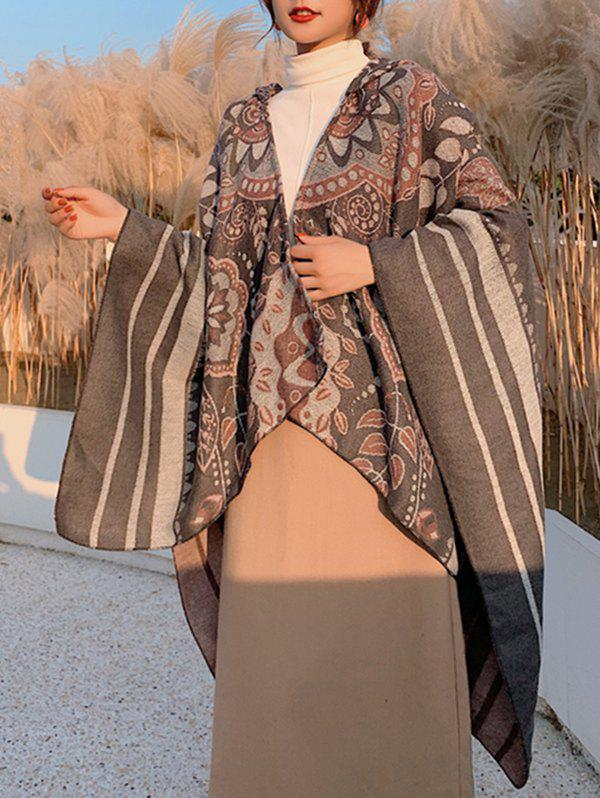Discount Floral Stripes Print Hooded Cape Shawl