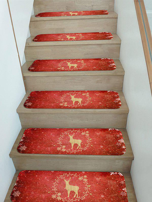 Outfit Christmas Elk Snowflake Pattern Stair Tread Rugs