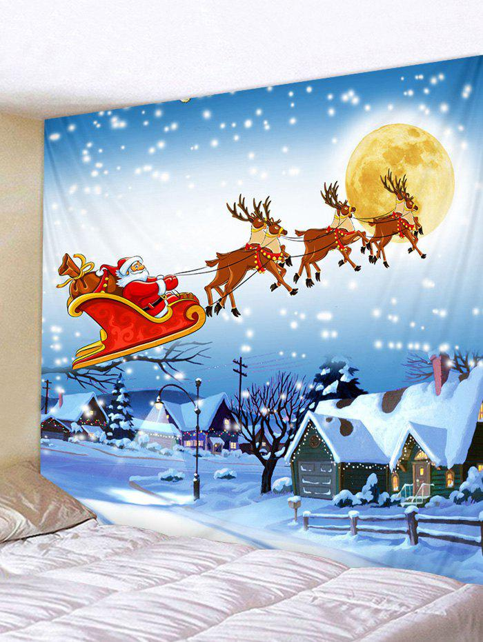 Store Christmas Sleigh Village Print Tapestry Wall Hanging Art Decoration
