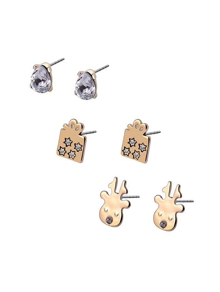 Shops Christmas 3 Piece Deer Gift Rhinestone Stud Earrings Set
