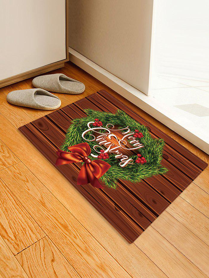 New Christmas Wreath Wood Grain Pattern Water Absorption Area Rug