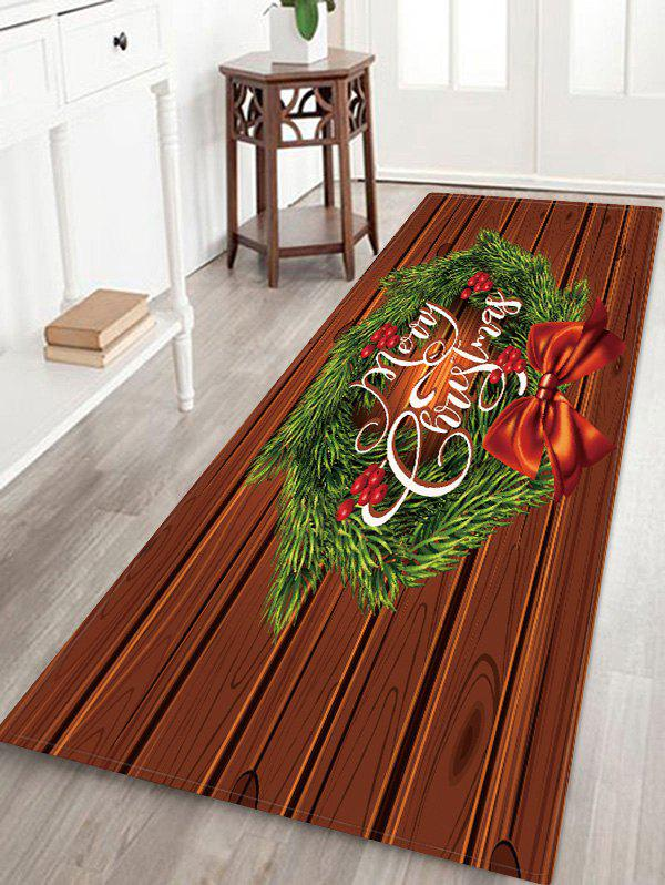 Outfits Christmas Wreath Wood Grain Pattern Water Absorption Area Rug